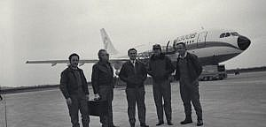 The first test flight of Airbus A300 with test pilots Max Fischl and Bernard Ziegler