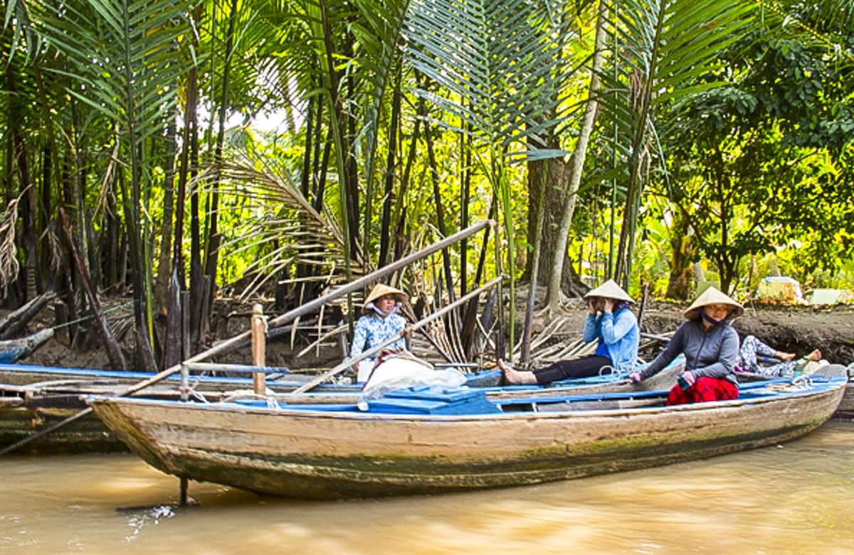 Sanpans in the Mekong Delta in Vietnam