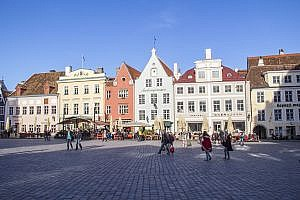 The Old Town Square in Tallinn the Capital of Estonia