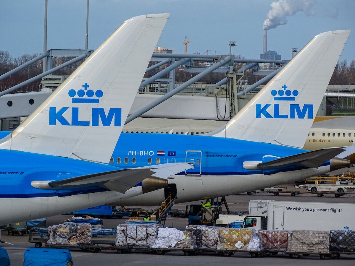 KLM planes on stand
