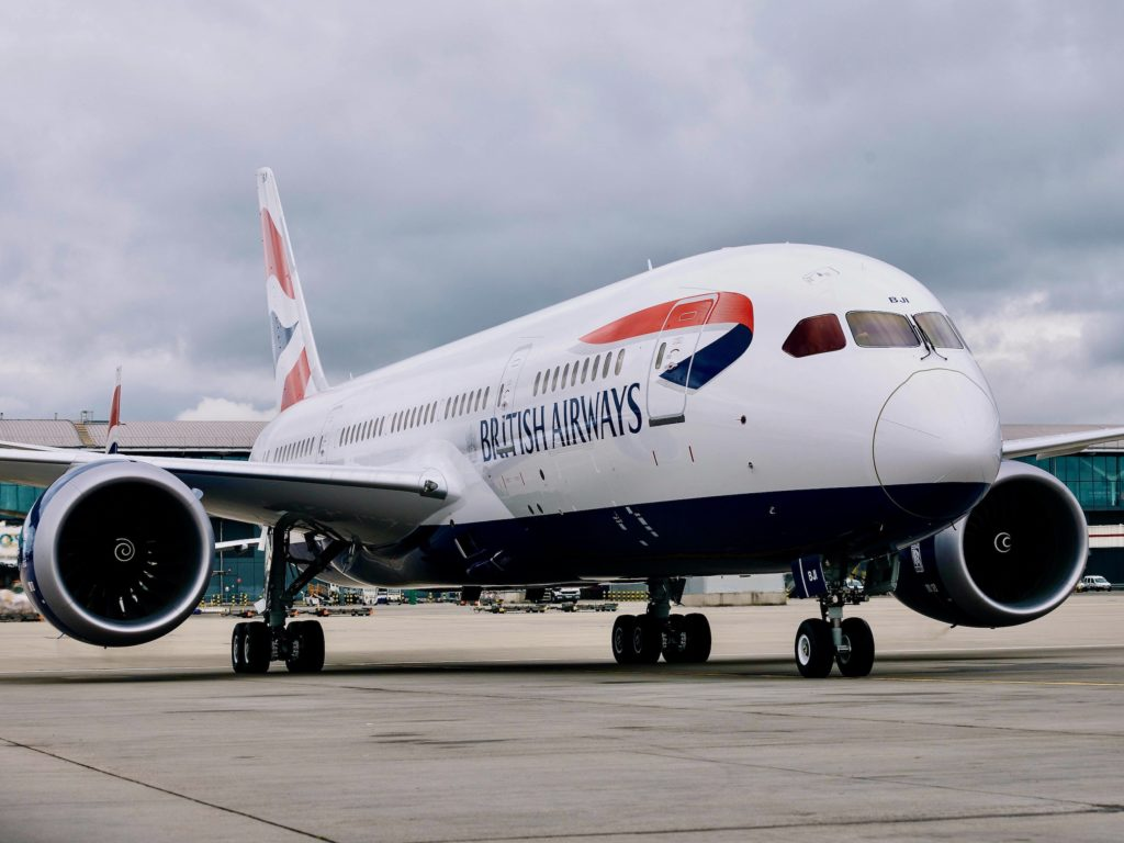 New British Airways Boeing 787-8 Arriving from the Boeing Factory in Seattle to London Heathrow.