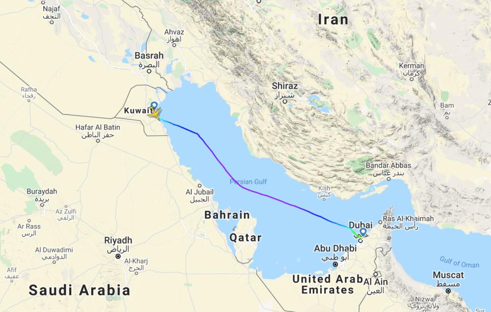 Flight Radar Data- Kuwait to Dubai
