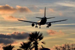 A flight landing at airport