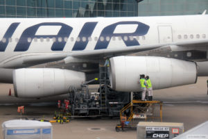 Finnair engineer carries out maintenance work on plane
