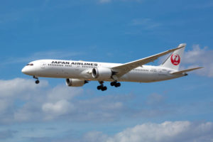 Frankfurt, Germany - August 16, 2019: Landing approach of Boeing 787 of Japan Airlines at Frankfurt International Airport. Japan Airlines (JAL) is the flag carrier of Japan, founded in 1951 and headquartered in Shinagawa, Japan.