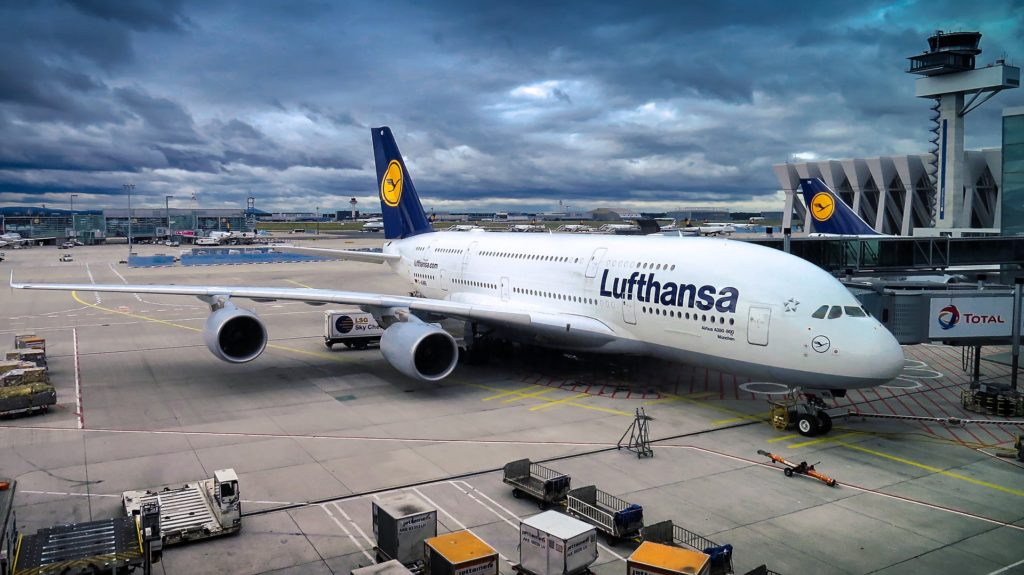 A Lufthansa A380-800 at Frankfurt Int. Airport