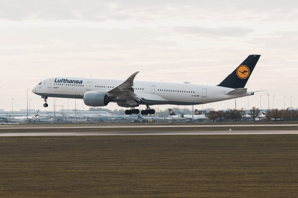 A Lufthansa A350 moments before landing