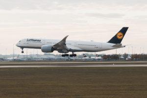 A Lufthansa A350 moments before landing