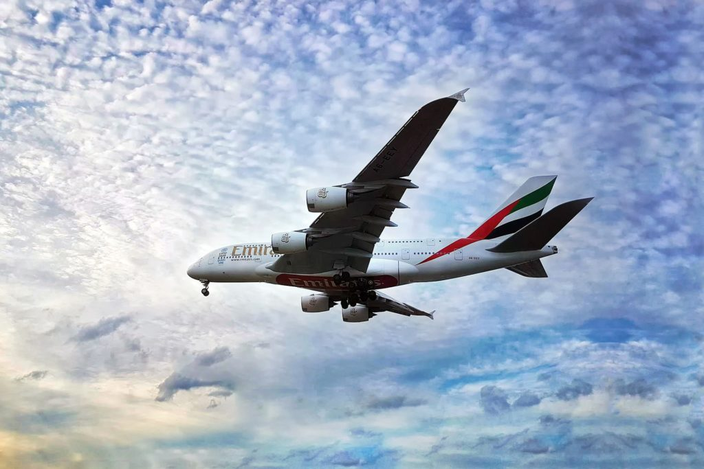 An Emirates A380 moments before landing