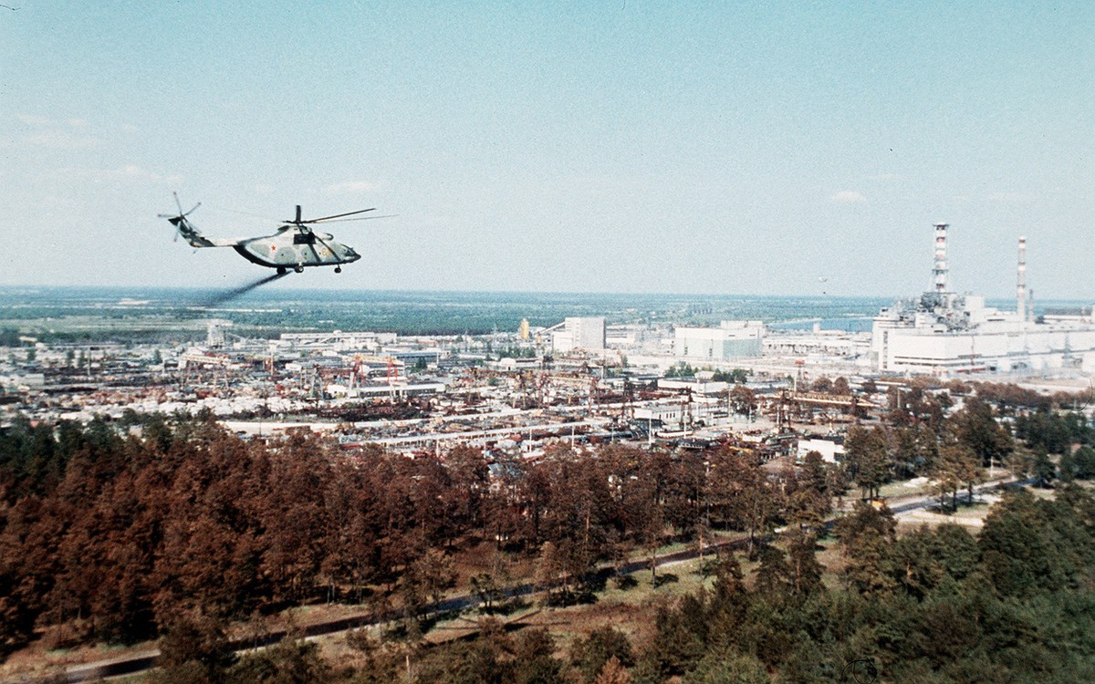 Helicopter carrying neutralising chemicals over the Chernobyl exclusion zone