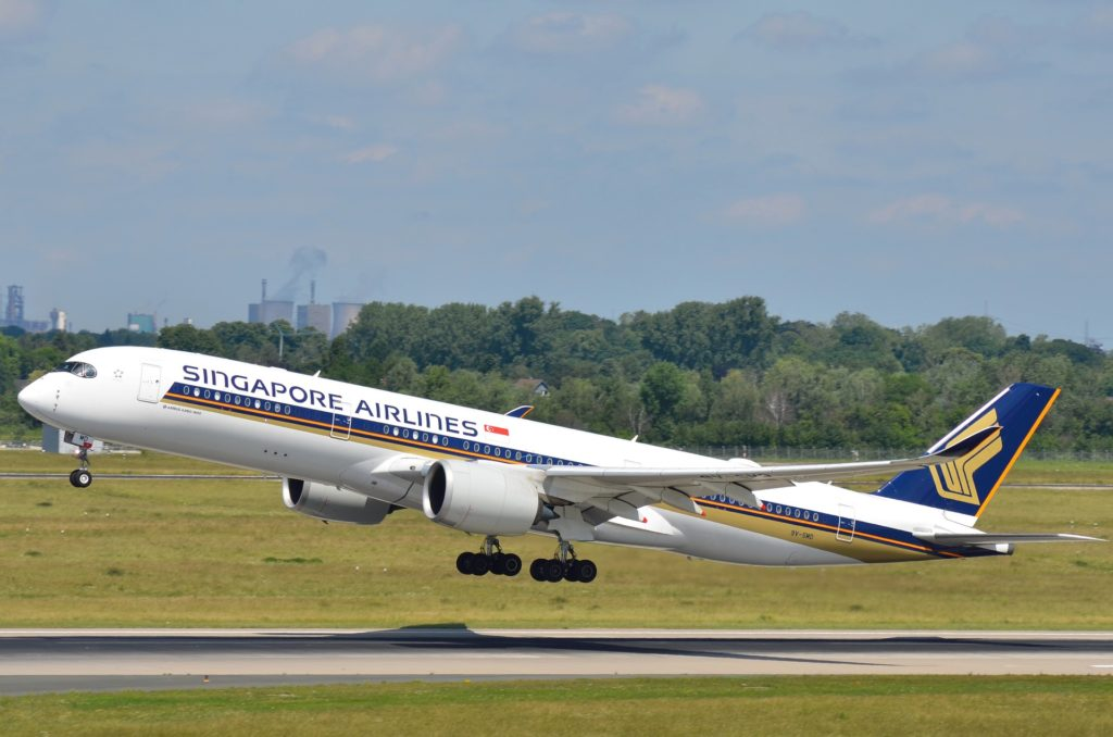 A Singapore Airlines A350 taking off