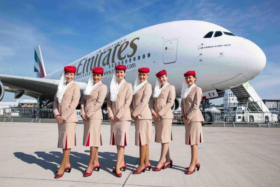 Crew stood in front of an Emirates A380