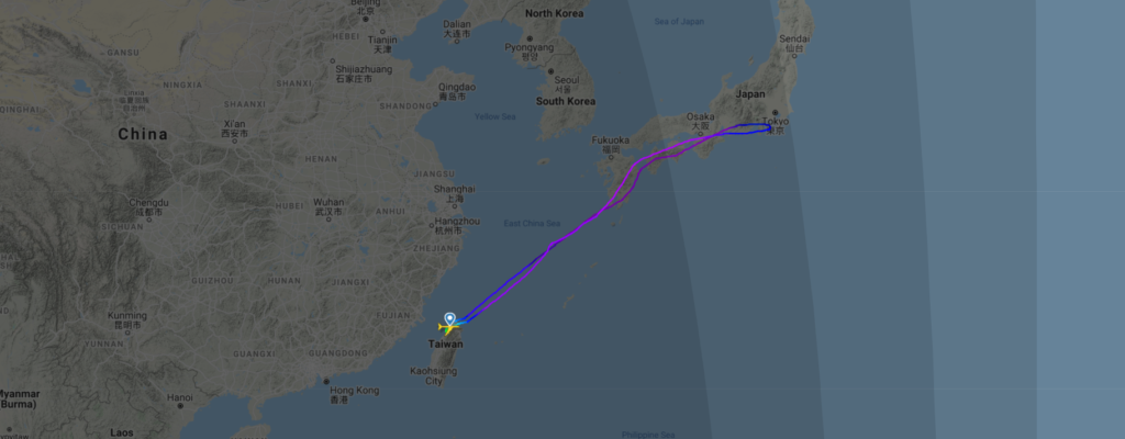 The routing of the farewell flight. The aircraft have flew to japan and flew across Mount Fuji and the coast of Tokyo.