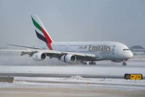 An Emirates A380 moments after landing
