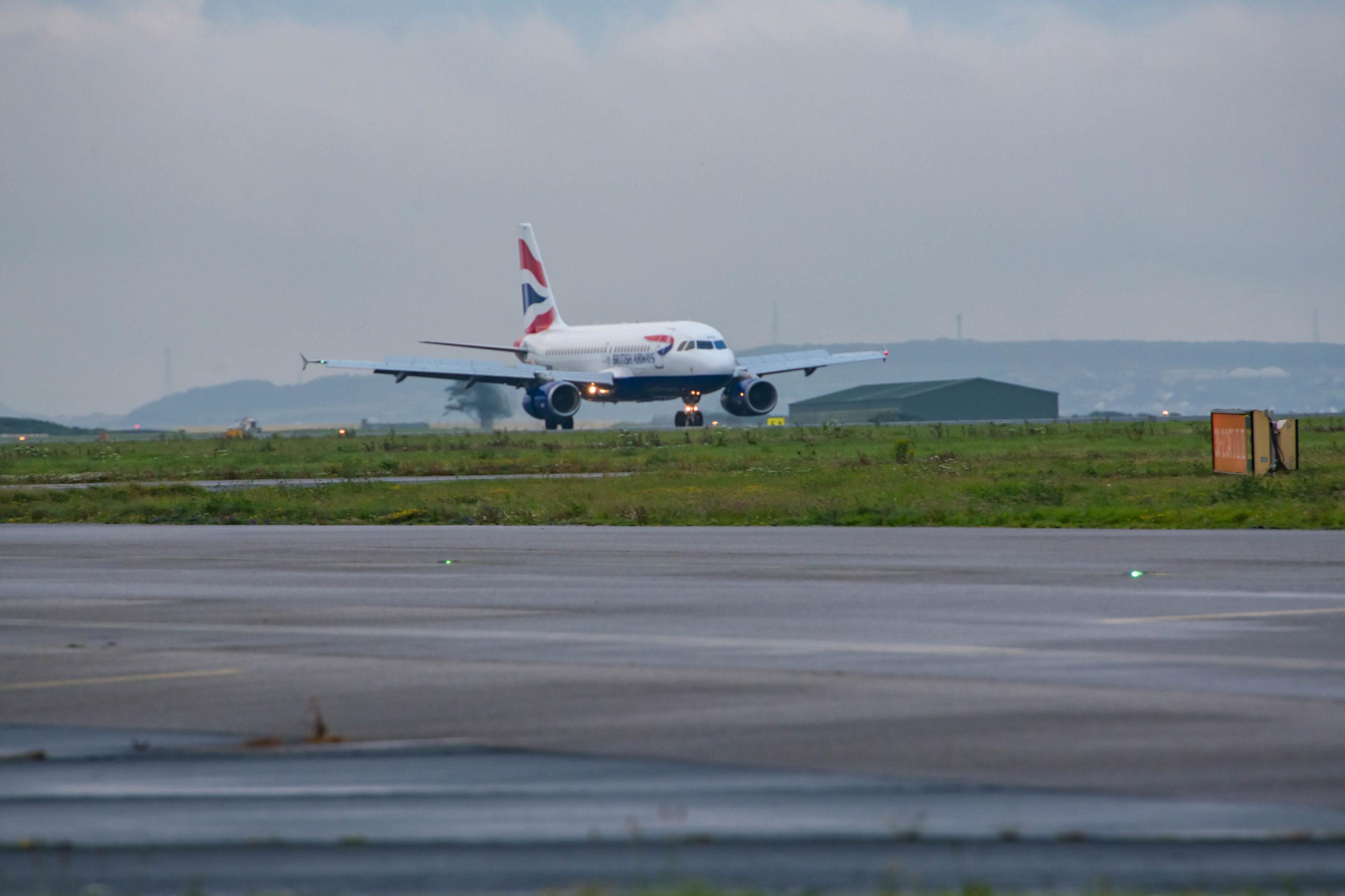 A British Airways landing at Cornwall Airport