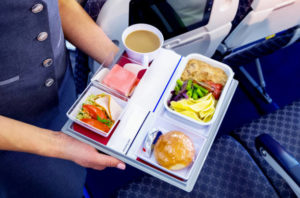 Meal served on board of airplane