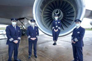 British Airway's pilots wearing masks © British Airways