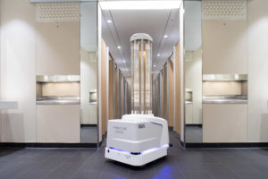 A UV robot cleaning the toilets at Heathrow Airport