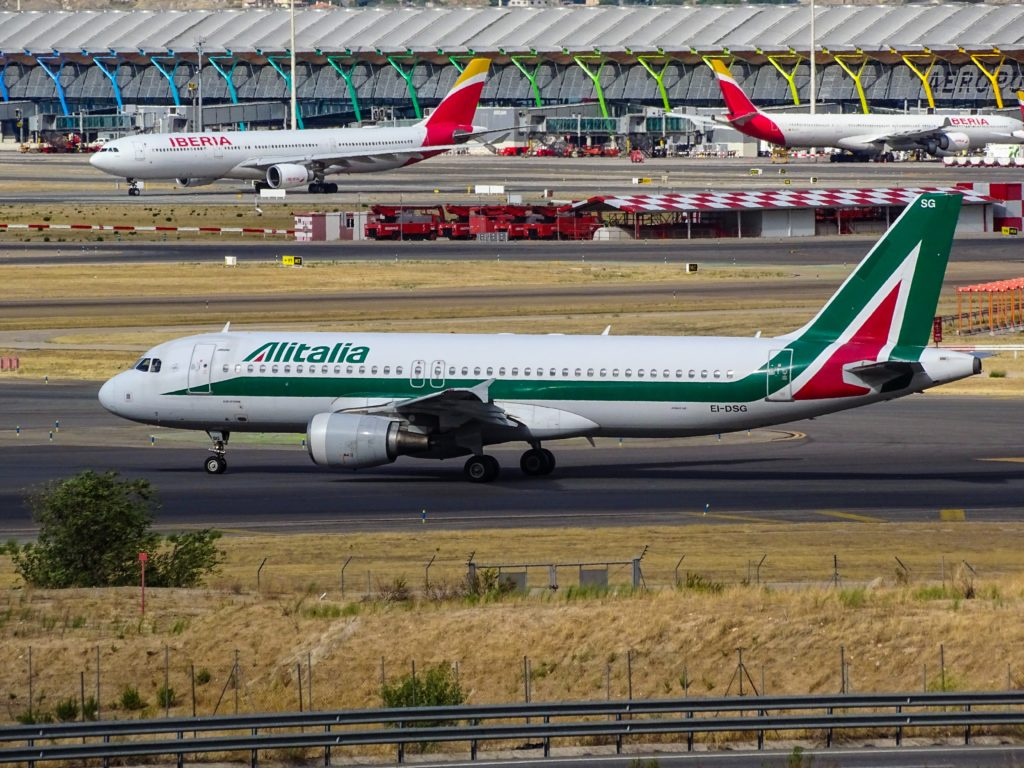 An Alitalia A330 at Madrid Barajas
