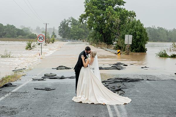 Floods wont stop the wedding thanks to hero chopper pilot