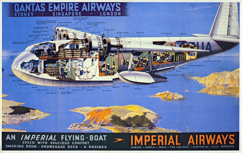 Imperial airways flying boat poster advert
