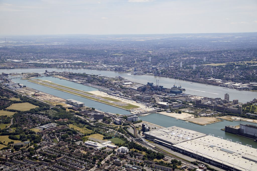 An aerial view of London City Airport © London City Airport
