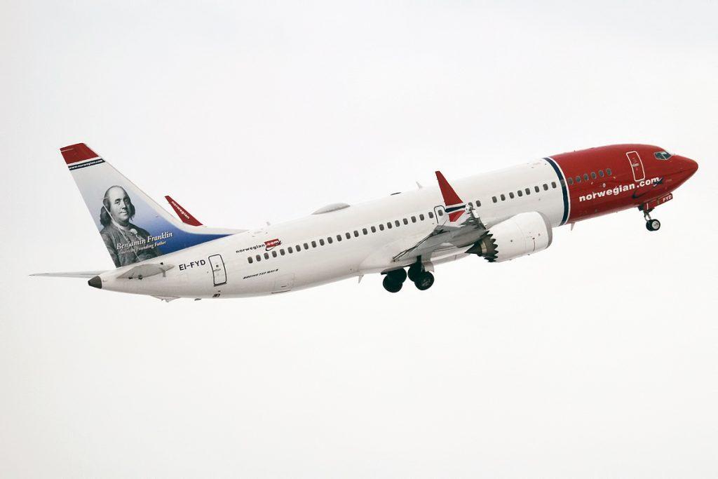 Norwegian 737 8 MAX taking off. Photo by Anna Zvereva