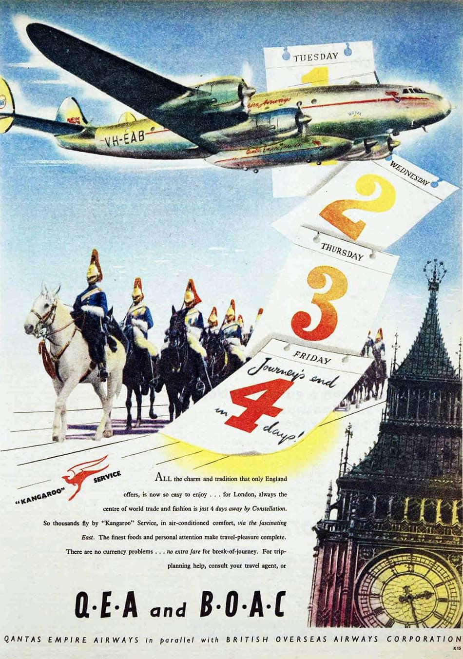 Qantas Empire Airways and British Overseas Airways Corporation Advertisement 1949