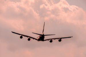 Airplane in Bleak sky