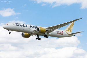 Image of a Gulf Air carrier mid-flight