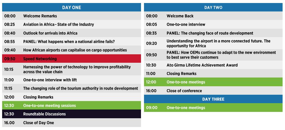 The three day program for June 9th-11th - AviaDev Africa 2021