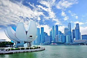 Singapore's Marina Bay - a Bubble looking sculpture at the side.