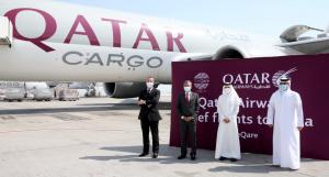 A Qatar Airways cargo flight ready to depart to India