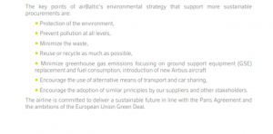 AirBaltic's Sustainability report 2019 - key points
