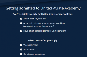 requirements for admission into United Aviate Academy