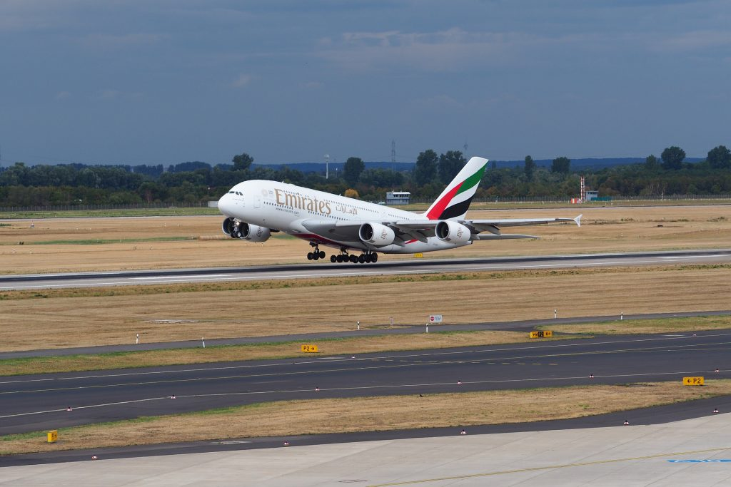 Emirates A380 taking off
