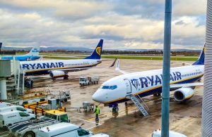 Ryanair planes at stand.