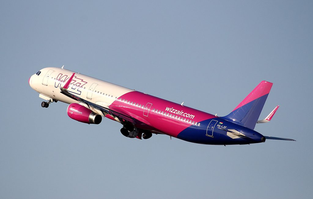 A Wizz Air A321 taking off.