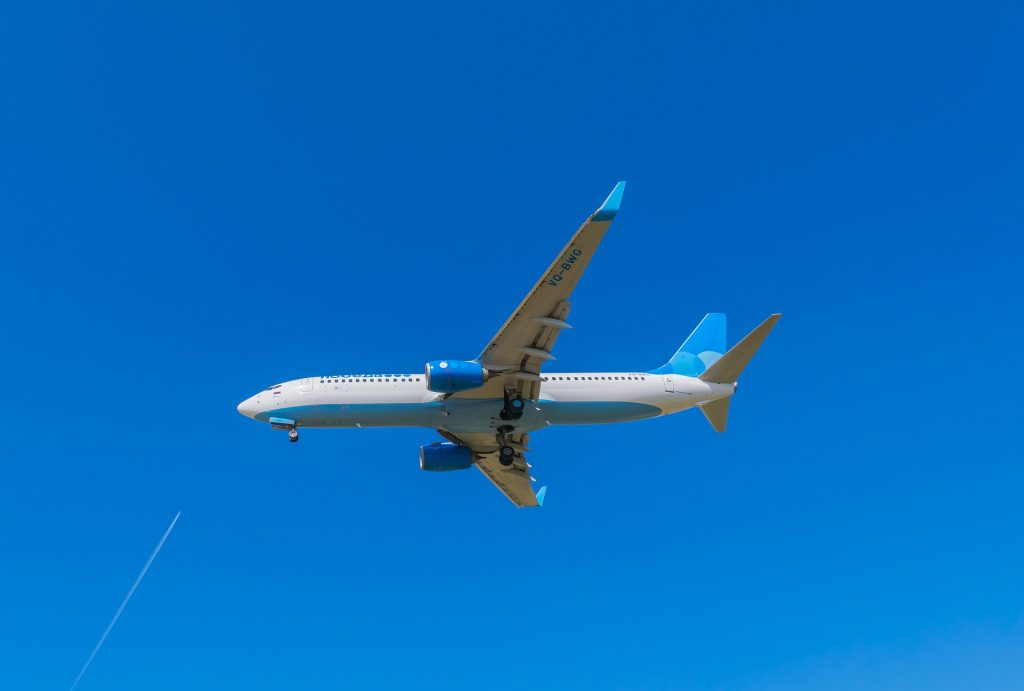 A Pobeda B737 moments before landing.