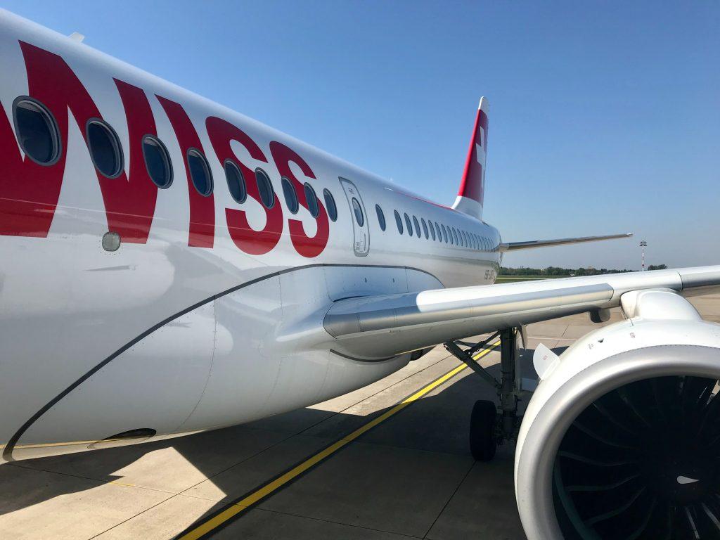 SWISS A220 at Düsseldorf. Photo by Tommy Krombacher