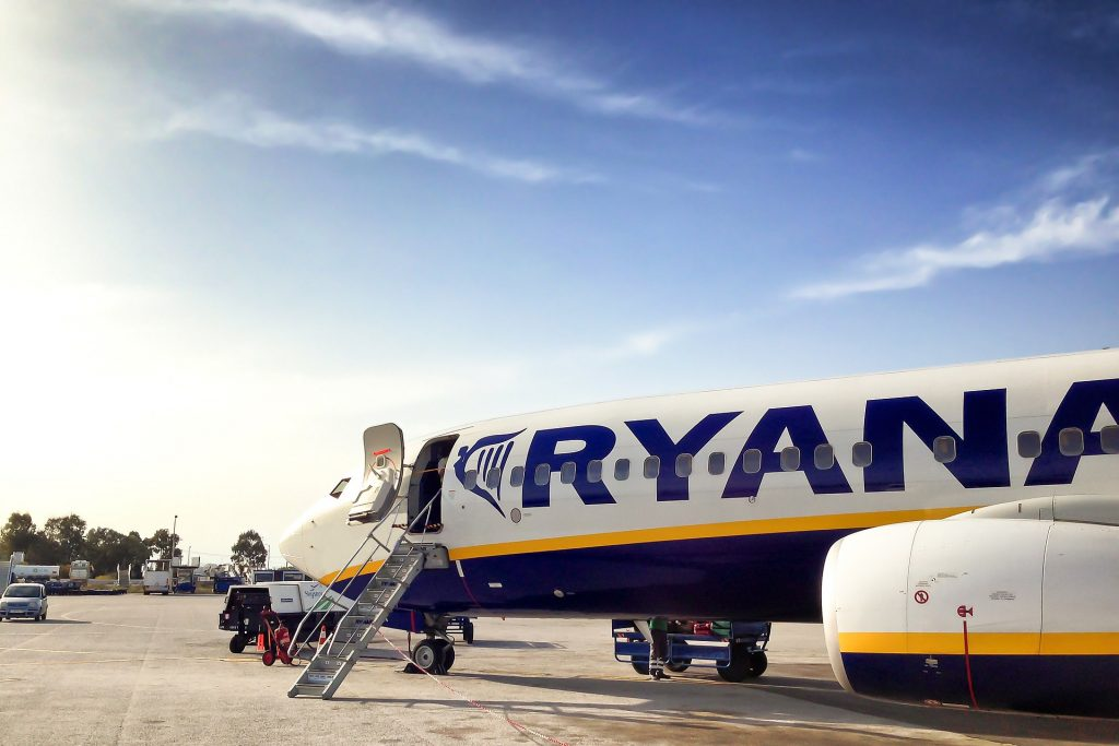A Ryanair plane at stand.