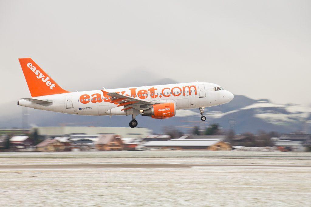 An Easyjet plane moments before landing.