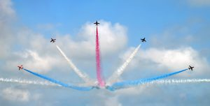 The Red Arrow decorate the skies with a display of red, white and blue