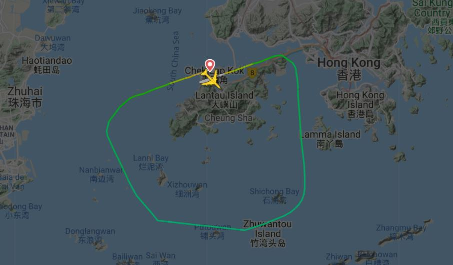 The Engine out route for 5X 003 returning to Hong Kong after Engine No.1 fire.