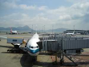 cathay pacific about to load passengers on plane