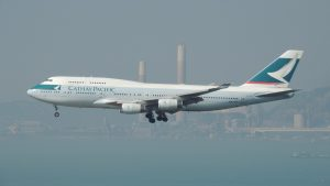 cathay pacific plane in sky