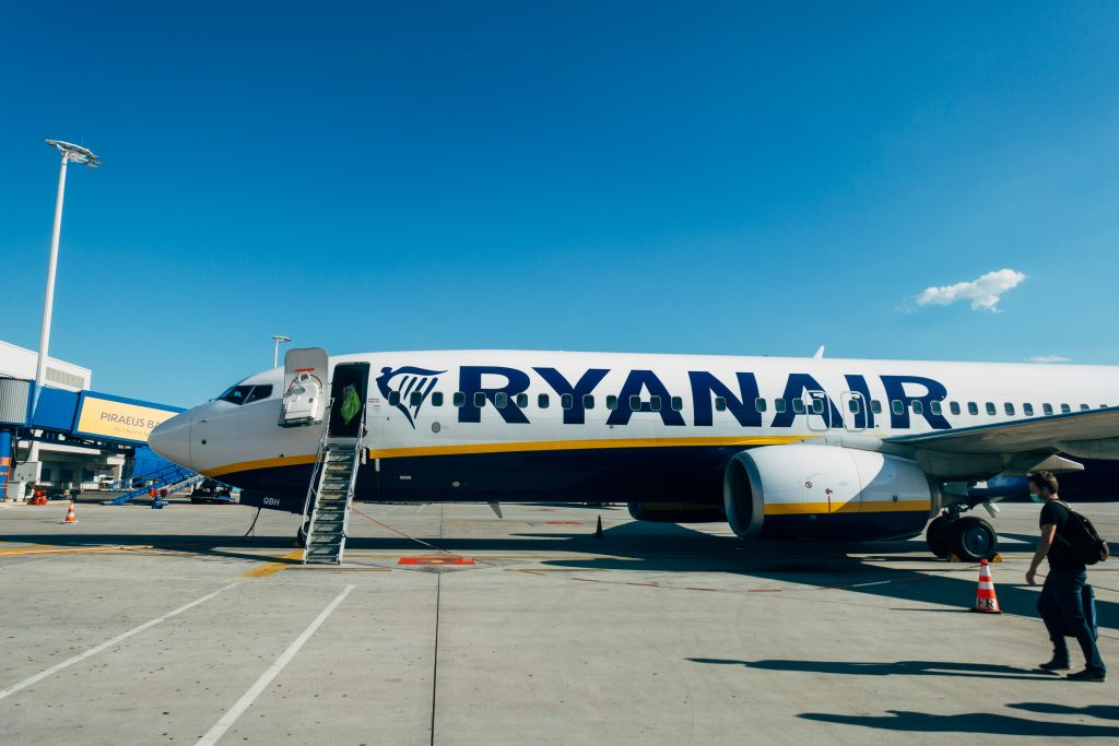 Ryanair at stand in Athens. Photo by Markus Winkler
