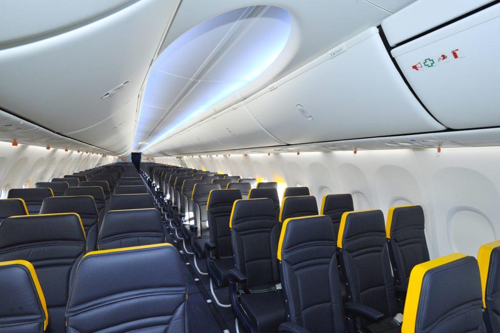 New Boeing Sky interiors of a Ryanair's plane. Photo by Ryanair.