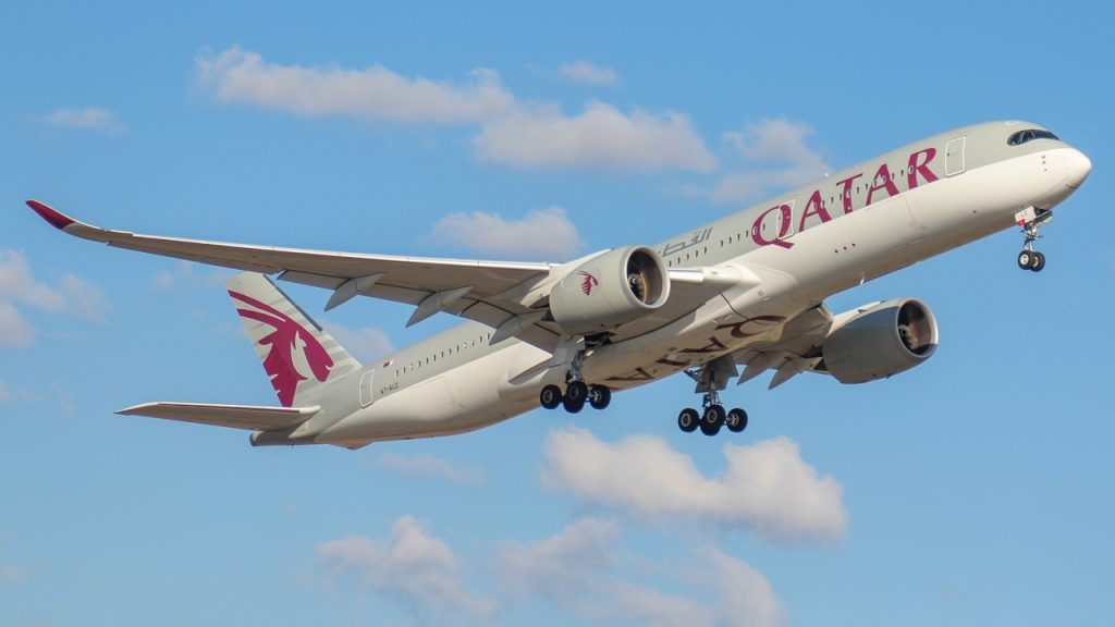 Showing Qatar Airways plane