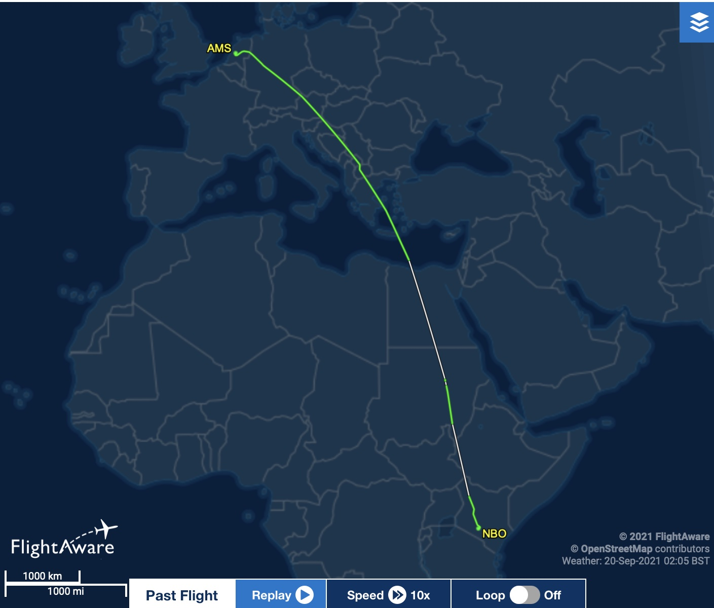 Showing Flight KQ118 travel route
